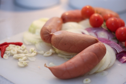 czech hotdogs onions and garlic ready to get pickled