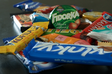 Slovak candies wafers and chocolate bars